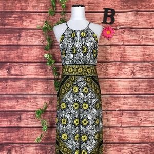Maggy London Dress 10 Long Maxi Yellow Black Daisy